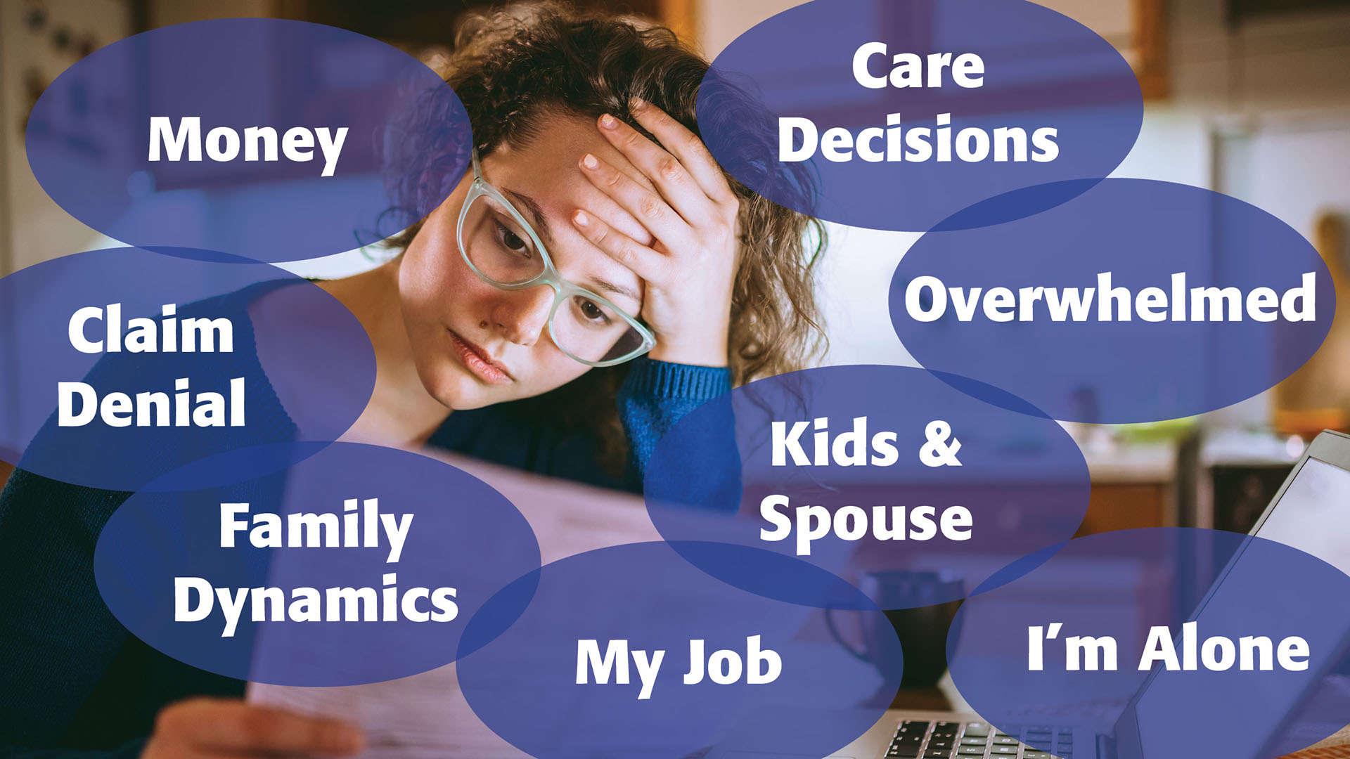Money, Claim Denials, Family Dynamics, Job, My Spouse, Care Decisions, Overwhelmed